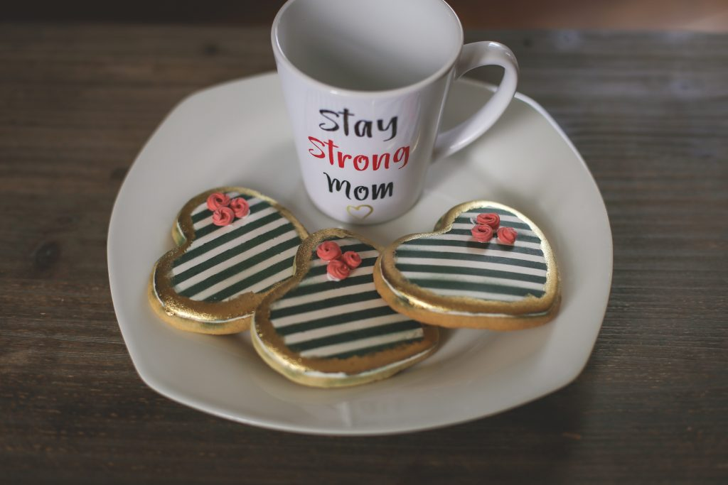 stay strong mom mug and cookie